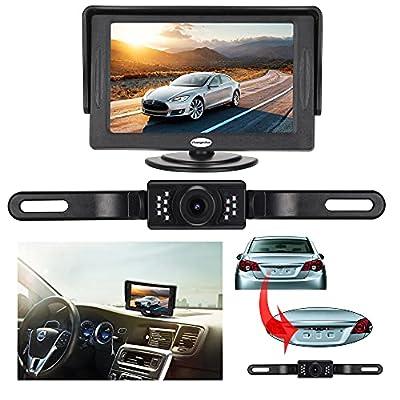 Backup Camera and Monitor Kit For Car,Universal Waterproof Rear-view License Plate Car Rear Backup Camera + 4.3 LCD Rear View Monitor
