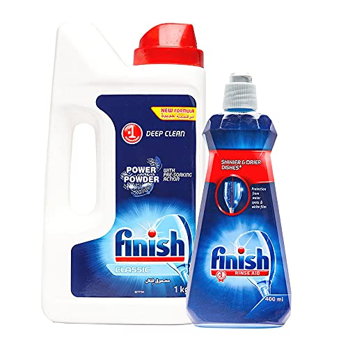 Finish Rinse Aid, Shine Dry- 400 ml and Finish Classic Dishwasher Powder Detergent 1 Kg | World's No. 1 Dishwashing Brand
