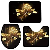 Bath Mat 3 Piece Bathroom Rugs Set Non Slip, Soft Water Absorbent fot Tub Beautiful Gold Rose Flowers Black 18x30inch Bath Rug & 15x18inch U-Shape Contoured Toilet Mat & 14x18inch Toilet Lid Cover
