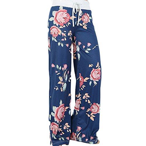 KINDOYO Femmes Wide Leg Floral Print Drawstring Pantalons de Yoga - Bleu