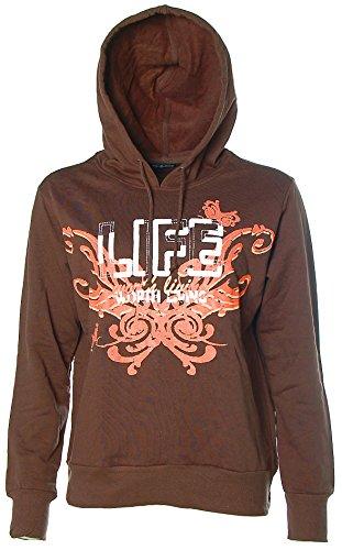 Chillytime Damen Sweatshirt Sweater Hoodie Kapuze 40/42 braun Life Worth