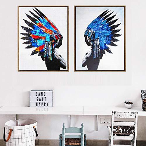 tzxdbh Vrouw met veer op kop Moderne abstracte afbeeldingen Indiase vrouw muur poster voor woonkamer Pop Art Portrait canvas schilderij 60x80cm Unframed