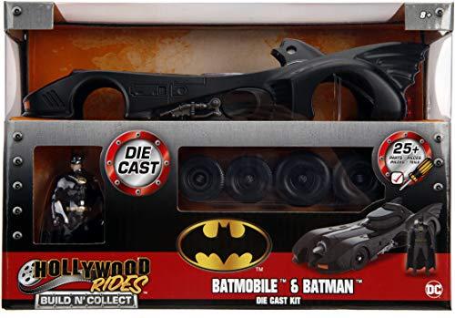 Jada Toys DC Comics Batman 1989 Batmobile DIE-CAST Car Model Kit, 1: 24 Scale Vehicle & 2.75' Collectible Metal Figurine, Build N' Collect, Black, JA30874