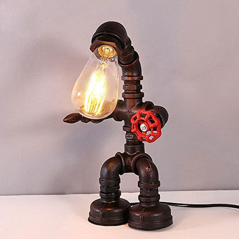 Modeen Vintage Industrial Iron Water Pipes Schreibtisch Tischlampe für Bedside Desk Bar Barn Warehouse Küche (Robot Steampunk)