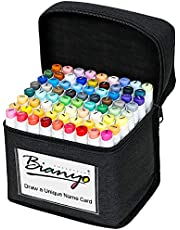 Bianyo Alcohol-Based Dual Tip Art Markers, Classic Series Set of 72 Colors, Travel Case with a Designable Card, for Drawing, Coloring, Sketching, Designing