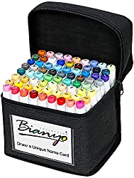 Budget Choice for Best Markers for Drawing: Bianyo Classic Series Alcohol-Based Dual Tip Art Markers with Travel Case