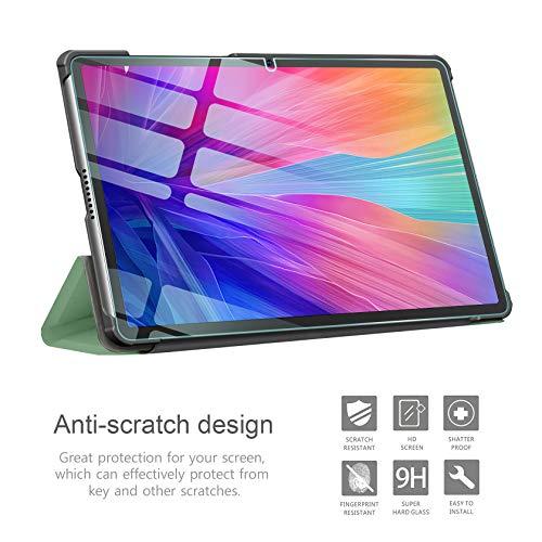 AROYI Hülle Kompatibel mit Huawei MatePad T10S/ T10 2020 und Panzerglas, Ultra Schlank Schutzhülle Hochwertiges PU mit Standfunktion Glas Panzerfolie, Minzgrün