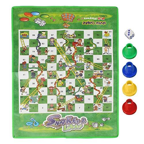 MOH Alfombra de ajedrez - Portátil para niños, niños, Serpientes, escaleras, Alfombra de ajedrez, Tablero de ajedrez, Kit de Juego Familiar