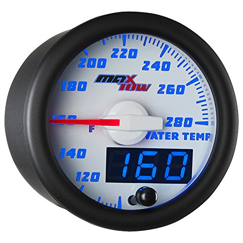 MaxTow Double Vision 280 F Water Coolant Temperature Gauge Kit - Includes Electronic Sensor - White Gauge Face - Blue LED Illuminated Dial - Analog & Digital Readouts - for Trucks - 2-1/16' 52mm
