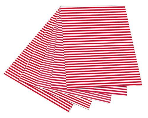 folia 6020 - Fotokarton mit Streifen rot - weiß, 50 x 70 cm, 10 Bogen, beidseitig bedruckt - zum Basteln und kreativen Gestalten von Karten, Fensterbildern und für Scrapbooking