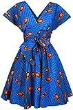 EMILYLE Femme Robe Courte Été Multiposition sans Bretelle Robe Africaine Motif Plume Multicolore Vive Soirée Cocktail, Bleu Plume M
