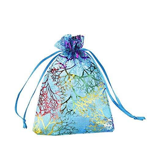 MYAMIA 50Pcs Coralline Organza Geschenktaschen Schmuck Pouch Candy Hochzeitsfeier Bevorzugen Tasche-9 * 12Cm