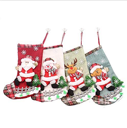 Markcur Deko Nikolausstiefel mit Weihnachtsmann Weihnachts Süßigkeitstasche Geschenktüte Weihnachtsstrumpf Dekoration