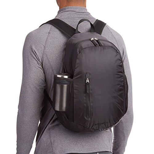 Amazon Basics Lightweight Packable Hiking Travel Day Pack Backpack - 17.5 x 17.5 x 11.5 Inches, 25 Liter, Black