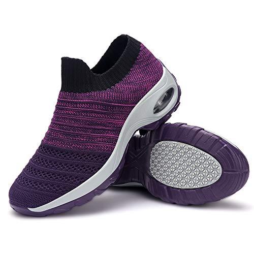 incarpo Damen Schuhe Sneaker Damen Turnschuhe Komfortabel Leichte Laufschuhe Atmungsaktive Sportschuhe Walkingschuhe,Violett,EU 39