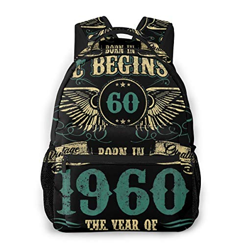 Life Begins At 60 Born In 1960 The Year Of Legends Men And Women Casual Style Canvas Backpack School Bag