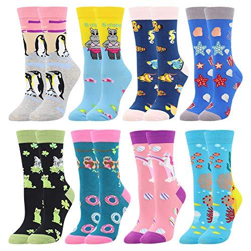 Damen Lustige Bunte Socken,Mädchensocken witzige Strümpfe, Fun Gemusterte Muster Socken, Verrückte Socken Modische Oddsocks Mehrfarbig Klassisch als Geschenk, Neuheit Sneaker (8 Paar-Unicorn2)