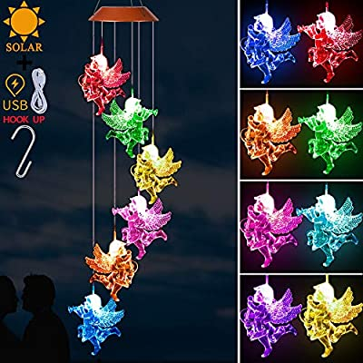 LED Solar Angel Wind Chimes Light Outdoor - Waterproof Mobile Angel Solar Powered Changing Color Wind Chime, Xmas Gifts for Mom, Home, Patio, Yard, Festival, Garden Decoration(Solar & USB Charging)