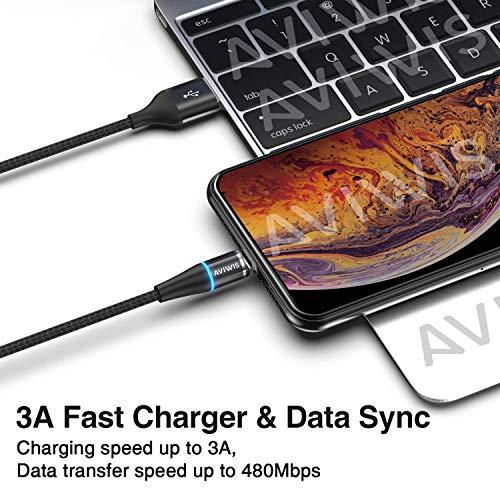 AVIWIS 3 in 1 Magnetisch Ladekabel [1m/3.3ft] Nylon Magnet Multi USB Kabel Schnellladekabel Datenkabel mit iP Micro USB Typ C Adapter für Phone 8 7 6, Samsung Galaxy S10 S9, Huawei, Xiaomi