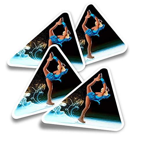 Pegatinas triangulares de vinilo (juego de 4) – Patinaje artístico chica pista de hielo divertidos calcomanías para portátiles, tabletas, equipaje, reserva de chatarra, nevera #3276