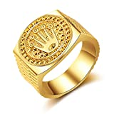 HasiDun Preferred Fashion Hip Hop 18K Gold Iced Out Crown Ring für Herren Verlobung...