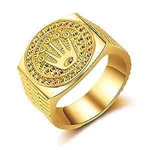 HasiDun Preferred Fashion Hip Hop 18K Gold Iced Out Crown Ring für Herren Verlobung Hochzeit Party Ringe Schmuck für Geburtstag, Valentinstag, Jahrestag (Keine 8 goldene 8)