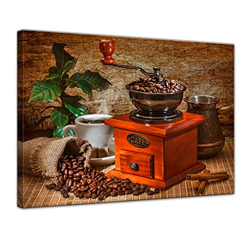 Wandbild Kaffeemühle - 80x60 cm Leinwandbilder Bilder als Leinwanddruck Fotoleinwand Essen & Trinken - Genuss - Auszeit - Bohne - Geschmack