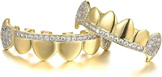 18k Gold Plated Hip Hop Teeth Iced Out Vampire Fangs Grillz with 4 Molding Bars Holleween Gift