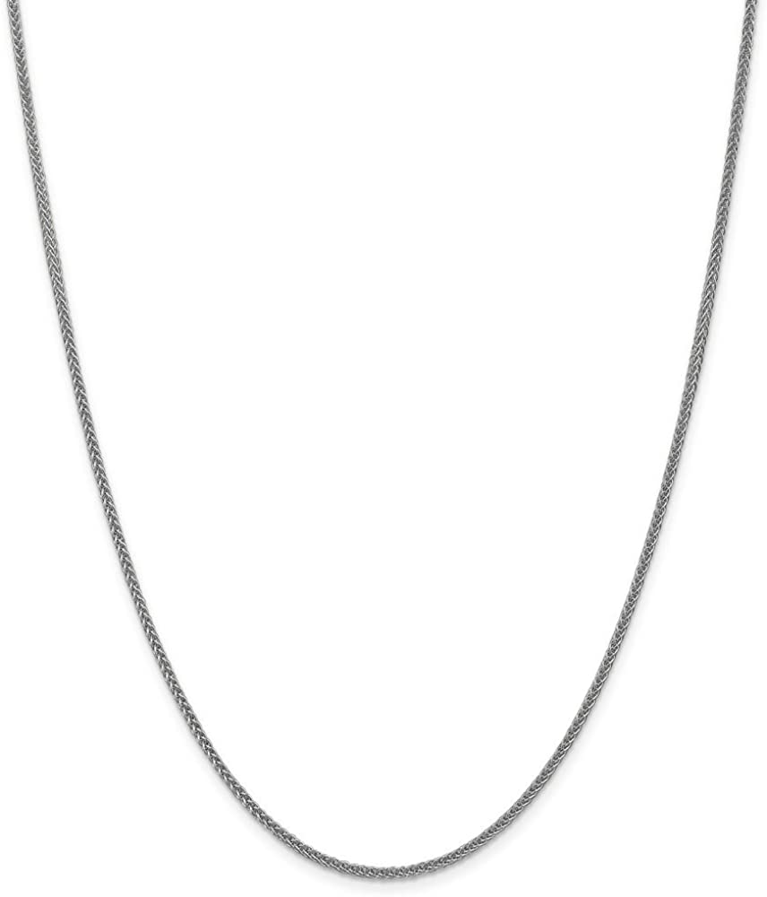 14k White Gold 2mm Semi Solid 3-Wire Wheat Chain Necklace for Men Women
