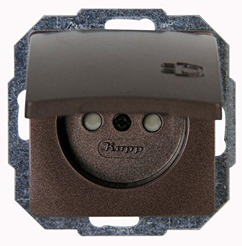 Kopp 944826089 Paris Mitten-Schutzkontakt-Steckdose 1-fach mit Deckel und erhöhtem Berührungsschutz, palisander-braun