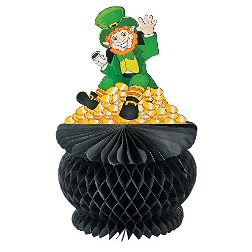 Fun Express St. Pat's Pot of Gold Tissue Paper Centerpiece for St. Patrick's Day Party Decor