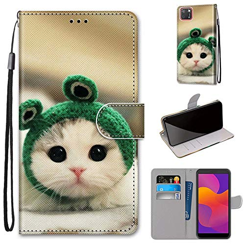 Miagon Flip PU Leder Schutzhülle für Huawei Y5P,Bunt Muster Hülle Brieftasche Case Cover Ständer mit Kartenfächer Trageschlaufe,Frosch Katze