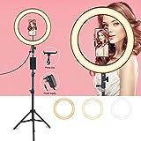 LED Ring Light, 14 Pouces LED Anneau Lumière avec Trépied, 3 Couleur Modes et 14 Luminosité, Support de Téléphone à Tube Souple pour Youtube Vedio, Diffusion en Direct, Maquillage