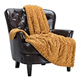 Chanasya Fuzzy Soft Cloud Textured Embossed Faux Fur Throw Blanket - Plush Sherpa Solid Cozy Gold Yellow Blanket for Bed Sofa Chair Couch Cover Living Bed Room (50x65 Inches) Golden Blanket