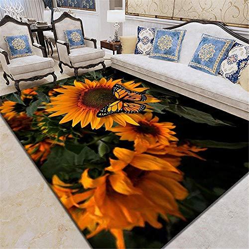RUGYUW Teppich Babyzimmer Grünes gelbes Sonnenblumenschmetterlingsmuster der 3D-Druckdekoration,Stilvoll weich Shaggy waschbarer rutschfeste Teppich (4'7''X6'7''ft)