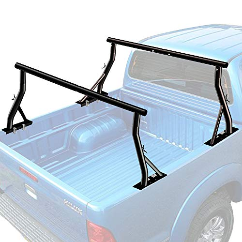 800lbs Capacity Truck Rack with (8) Non-Drilling C-Clamps Heavy Duty Extendable Universal Pickup Ladder Rack Two-bar Set Matte Black One Pair
