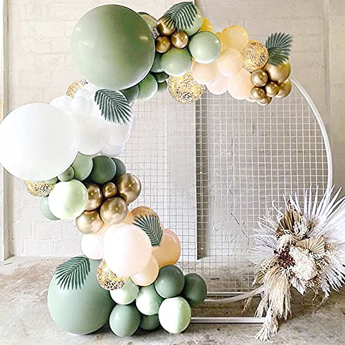 Sweet Baby Co. Sage Green Balloon Garland Arch Kit with Eucalyptus Olive, Peach, White, Gold Balloons and Greenery for Forest Safari Jungle Tropical Theme Decorations Baby Bridal Shower Birthday Party