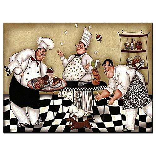 DIY Diamond Painting Kit Completo Grande Cartoon Chef Cuadros Diamantes 5D Para Adultos Niños Bordado Punto de Cruz Cristal Rhinestone Arts Lienzo Pared Decoración Regalo Round Drill_50x70cm(20x28in)