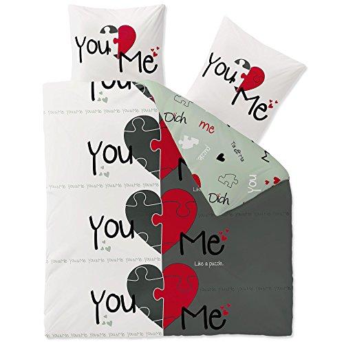 CelinaTex Fashion Bettwäsche 200x200 cm 3teilig Baumwolle Du & Ich Herz Weiß Grau Rot