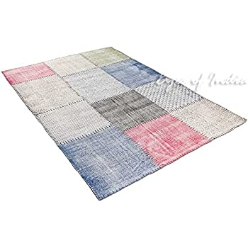 8x10 Ft Indigo Blue Cotton Block Print Accent Area Dhurrie Rug Flat Weave Boho