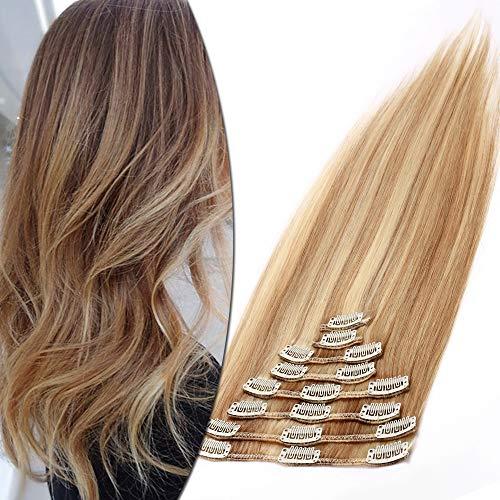 Clip in Extensions Echthaar Haarverlängerung Haarteil 8 teiliges SET Remy Haar Honigblond/Hellblond #18p613 25 cm (75 g)
