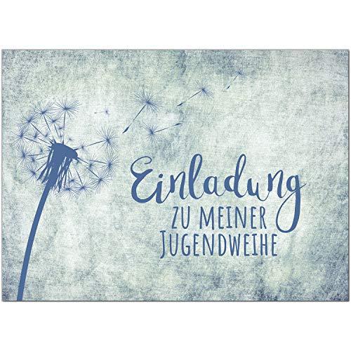 15 x Einladungskarten zur Jugendweihe mit Umschlag/In blau Jeans-Motiv Pusteblume/Jugendweihekarten/Einladungen zur Feier