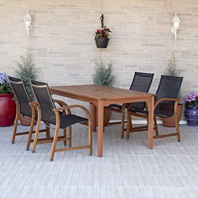 Amazonia Bahamas 7-Piece Oval Patio Dining Set   Eucalyptus Wood   Ideal for Outdoors and Indoors, Black