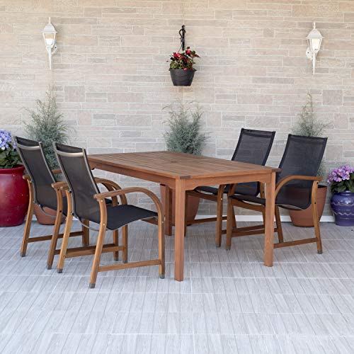 Amazonia Bahamas 7-Piece Oval Patio Dining Set | Eucalyptus Wood | Ideal for Outdoors and Indoors, Black