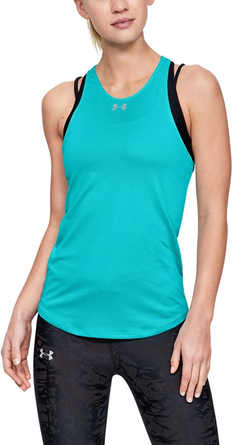 Under Armour Qualifier Tank, Breathtaking 青 (400)/Reflective, Large