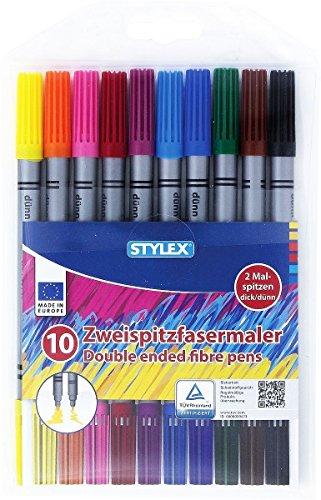 Stylex® 10 Zweispitzfasermaler / Doppelfasermaler mit je 2 Malspitzen dick und dünn - 10 Farben - Tinte auf Wasserbasis, auswaschbar (Fasermaler Filzstifte)