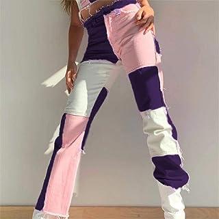 FCWJHNTSL Pink Patchwork Straight Jeans Mujer Mom Jeans de Cintura Alta Moda Sexy Color Block Ladies Jeans Pantalones Pant...