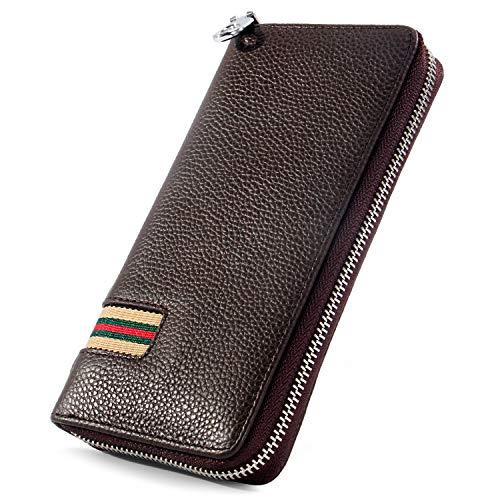 Minimalist Leather Wallets for Men, Women Long Bifold Wallet Zip Around Clutch Travel Purse for Checkbook, Smartphone, Passport Black