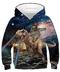 7. RAISEVERN Boy's Pullover Dinosaur Hoodie