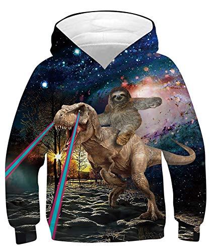 Hoodies for Boys Girls Teen Kids Long Sleeve Pullover Sweatshirt Cool Graphic Cute Comfy Hoodies Funny Hooded Sweatshirts Orangutan Riding Dinosaur in Galaxy Hoody with Pocket 6-7 Years